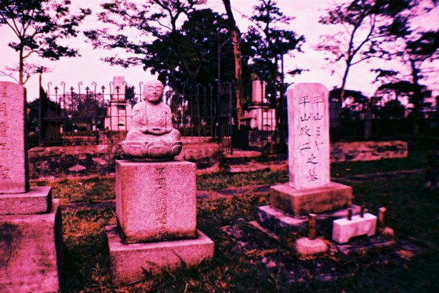 Stone sculptures that include that of Japanse deities line some of the graves