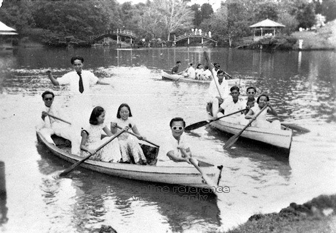 Boat rowing was a favourite among many at the Alkaff Gardens ( Image courtesy of the National Archives of Singapore)