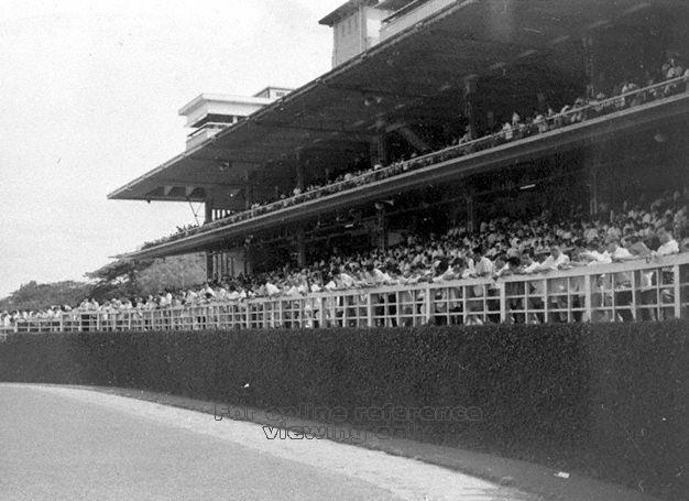 The working class crowd clamouring in the grandstands. Image by Wong Kwan, 1959