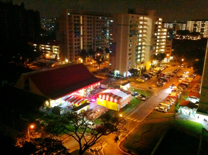 View of Chinese street opera stage from my room