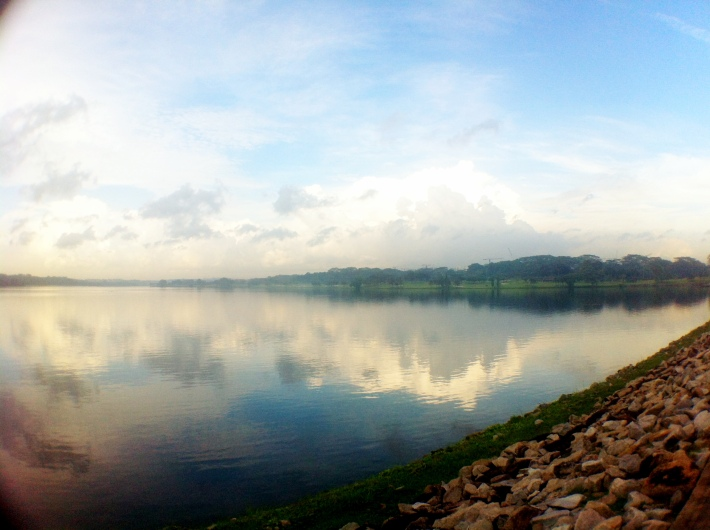 View of the lower seletar reservoir that runs to one side of the lower seletar dam