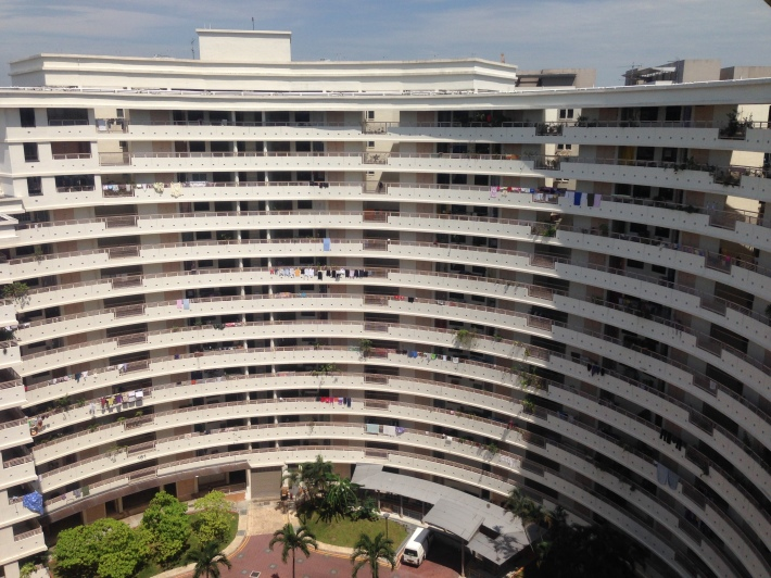 A view of the semi-circular flat from the adjacent block