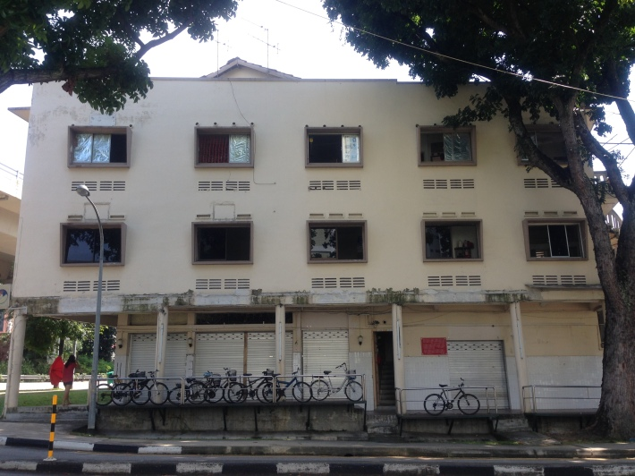Abandoned squarish shophouses along Lorong Liew Lian
