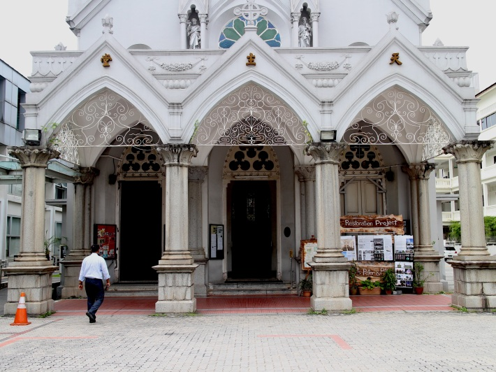 The front facade of the church is decorated with the statues of St Peter & Paul
