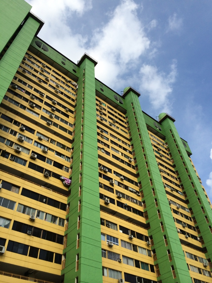 A closeup of the distinguished apartments that make up the 31 storey People's Park Complex