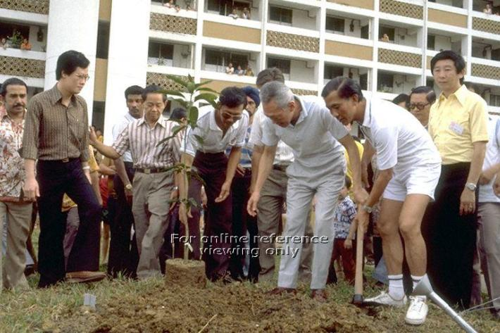 Former Prime Minister Lee Kuan Yew planting a sapling at Everton Park as residents look on. Source: Ministry of Information and the Arts (MITA)