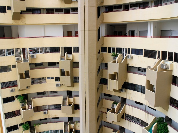 At the mid-point of the building is something like that of a void deck, only much 18-storeys above.