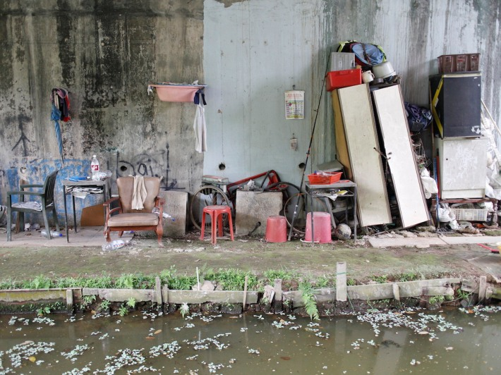 An assortment of furniture greets you at the next 'checkpoint' just under a bridge