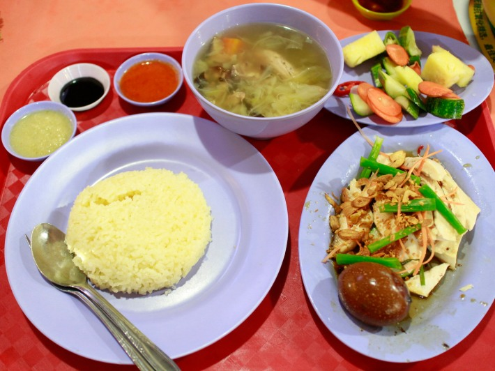 Even on weekdays the Katong Chicken Rice stall has snaking queues forming.