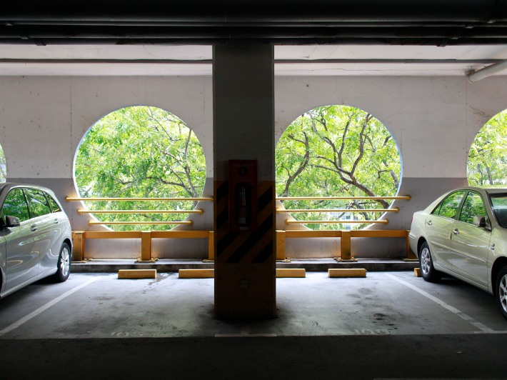 Located on the Carpark and top floor, the circular holes create a practical aesthetic to Katong Shopping Centre.