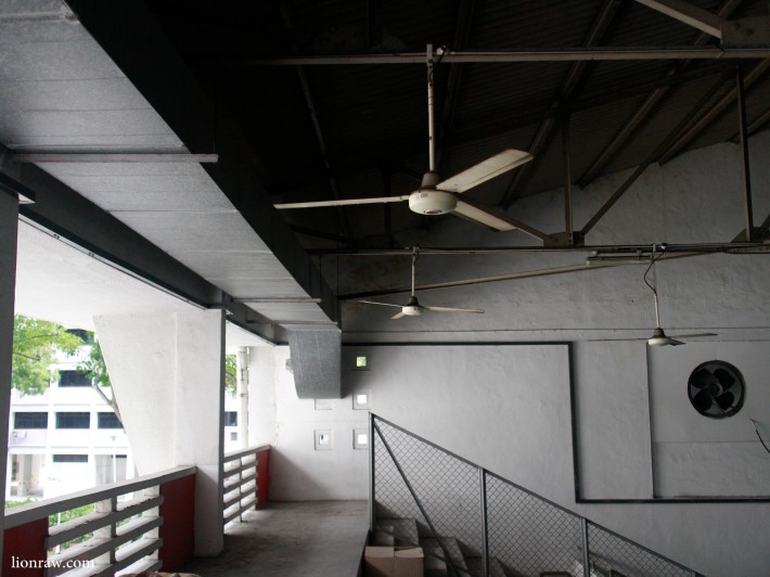 Top of the grandstand on the southern end of the Old Singapore Badminton Hall