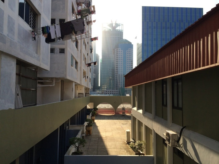 The unique height of the void deck provides a different perspective to the landscape around the apartments