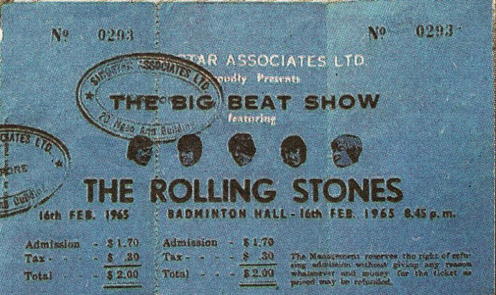 A Ticket stub on The Rolling Stones' performance on 16 Feb 1965 at the Old Singapore Badminton Hall. Source: Legends of the Golden Venue