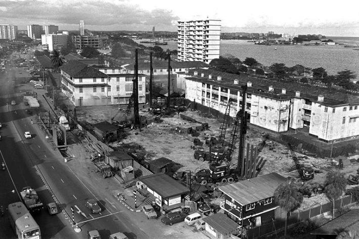 An aerial view of the Old Beach Road Police Station. Image from Singapore Press Holdings.