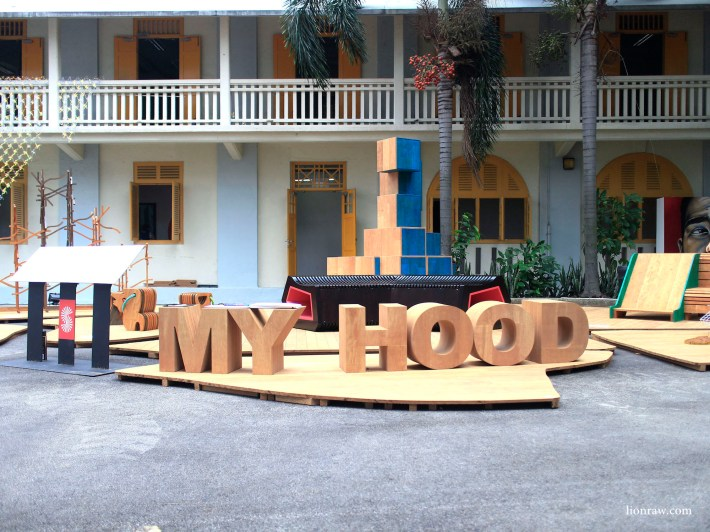 An installation titled My Hood has designs inspired by everyday happenings around the neighbourhood such as the Dragon Playground and Kampong Animals from Sembawang.