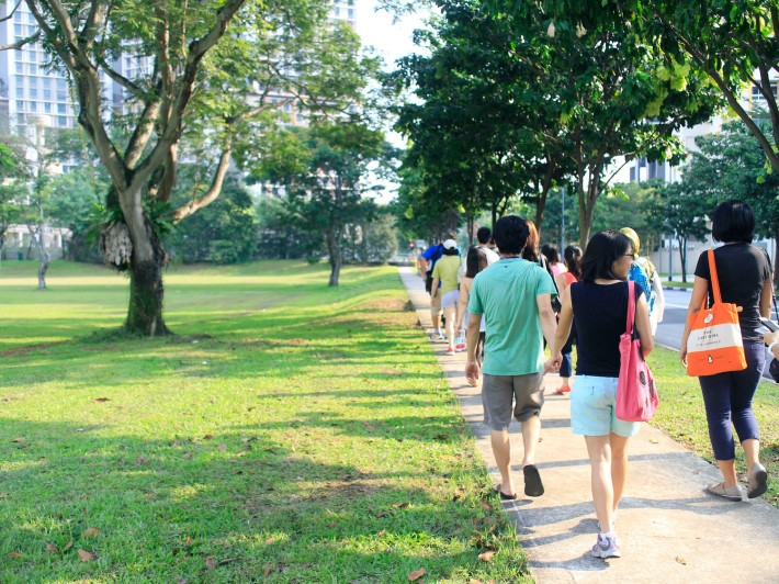 Participants take a scenic walk along Dawson and Margaret Drive, once the heartbeat of the old Princess Margaret Estate.