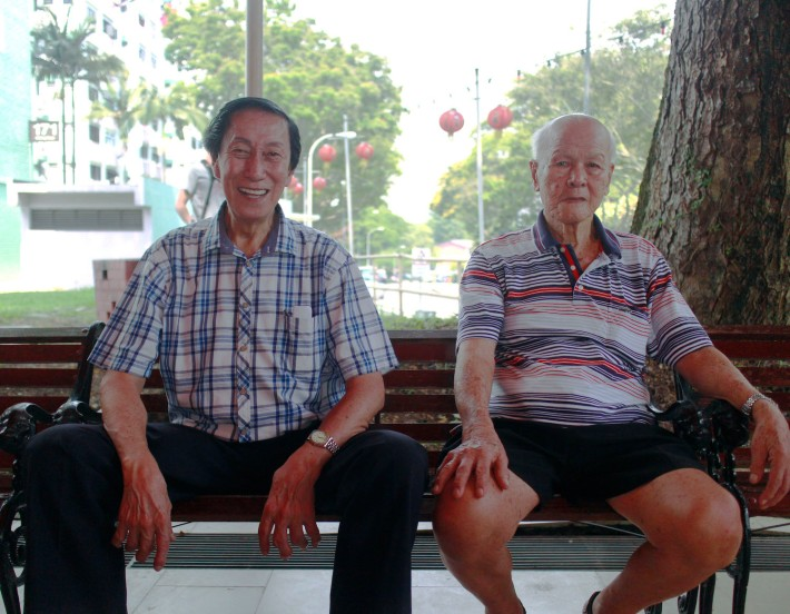 Mr Ang Beng Teck (right), 85, was also an active grassroots volunteer in the early days and even remembers being on-site when former Prime Minister Lee Kuan Yew opened a school in the area.