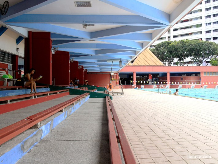 The long benches are a common sight in most swimming complexes, mostly for parents accompanying their kids to swimming lessons.