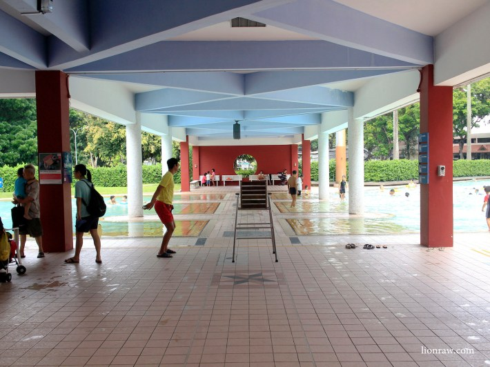 A lifeguard stretches it out at the children's section of the complex