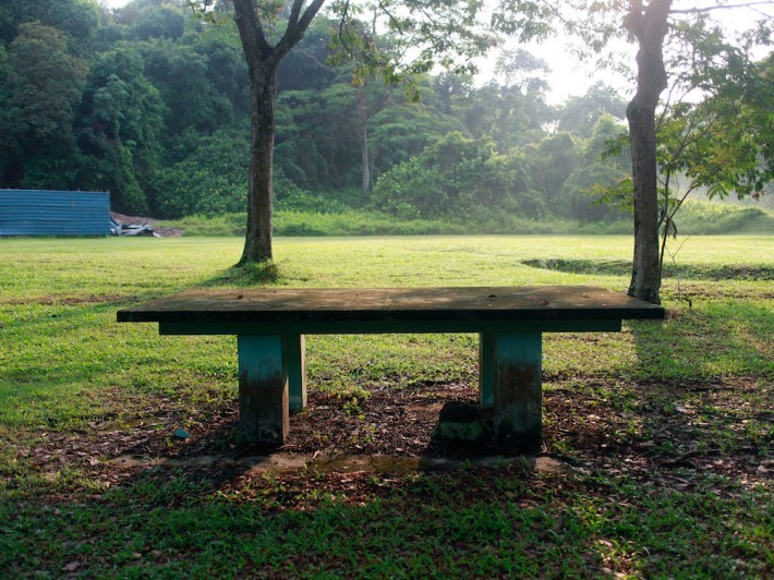 Old marble table along Margaret Drive just before a small pedestrian path leads you to Ridout Road