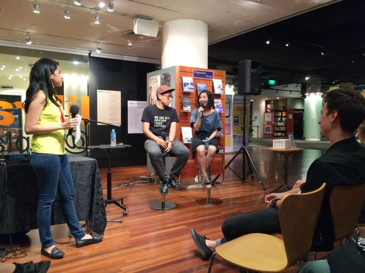 Electronic music duo .gif, share their experiences and thoughts of the local music scene in a recent session at The Esplanade Library.