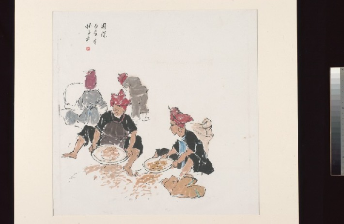 Lim Tze Peng's 1976 painting Untitled (Samsui Women), depicts the subjects in the trademark red hats, panning for raw materials.