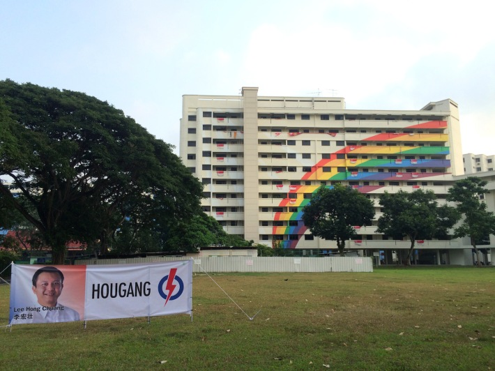 Block 316 on Hougang Avenue 5 recently received a fresh coat of paint, but still retained its iconic rainbow pattern on its facade.