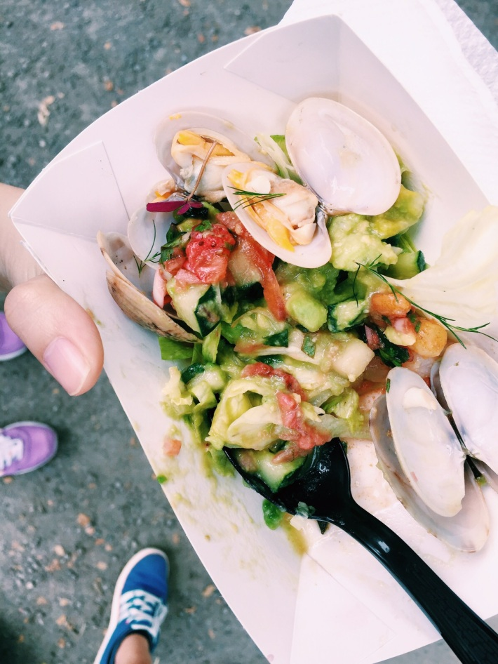 Samples from a Farmer's Market such as this clam based dish from Food Truck Kerbside Gourmet