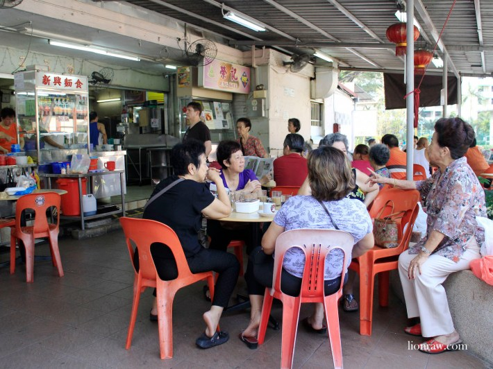 Residents enjoying their bowl of mee pok and a cup of coffee at Commonwealth Crescent