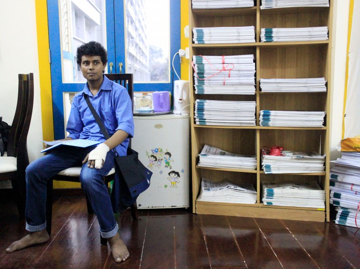 Bellal, who was recently injured in a worksite incident, has been coming to Dibashram for the past two years. A published author back in Bangaldesh, he contributes to the history and film column of the Banglar Kantha.