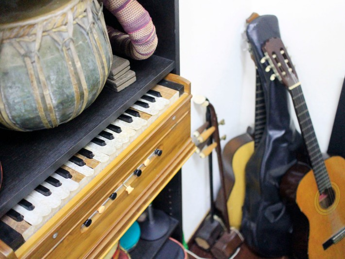 Traditional Bengali instruments are available for free to those keen to express themselves through music.