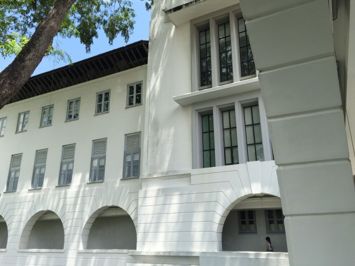 A closer look at some of the other architectural designs that make up the buildings at the former Raffles College.