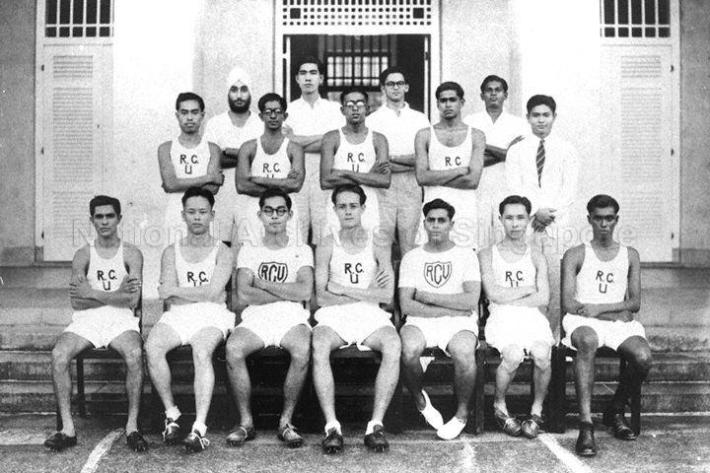 Group photograph of the Raffles College team during the Inter-College Athletics. One of the members was E W Barker (front row, right), former Minister for Law. Image taken from the Raffles College Collection, courtesy of the National Archives of Singapore.